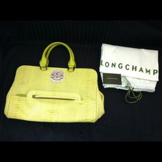 Longchamp Gatsby Exotic Tote Beautiful Gatsby Exotic Tote in one of this season's hottest colors, Citrine! This bag is made from python-style cowhide and manufactured with the greatest care. This bag has never been used so it is in pristine condition. Longchamp Bags Totes