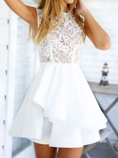 White Sheer Crochet Lace Panel Sleeveelss Layered Skater Dress | Choies
