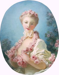 labellefilleart:  A Young Blond Woman with a Garland of Roses around her Neck, Jean-Honore Fragonard