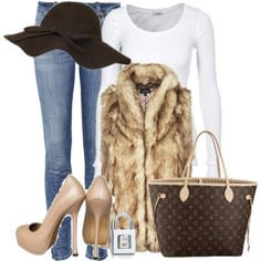 Polyvore - very cute, but I I already know I can't walk in those shoes!! I would wear boots with this.