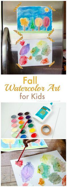 fall watercolor art for kids. fun, easy fall craft idea!