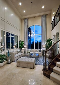 A grand two-story family room. (Toll Brothers at Frenchman's Harbor, FL)