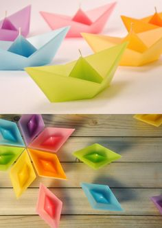 origami candle boats