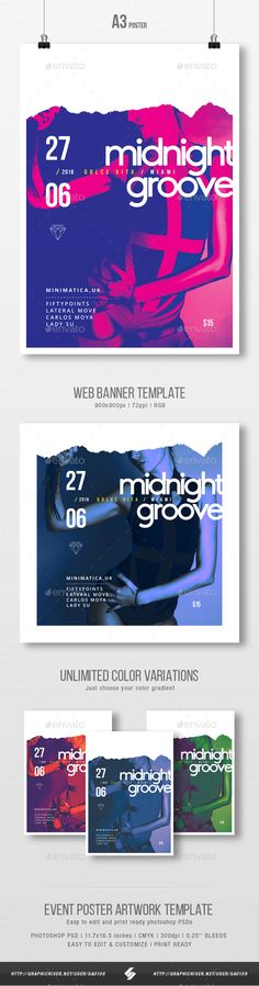 Midnight Groove  Party Flyer / Poster Artwork Template A3 #11.7x16.5 #print • Download ➝ https://graphicriver.net/item/midnight-groove-party-flyer-poster-artwork-template-a3/21335904?ref=pxcr