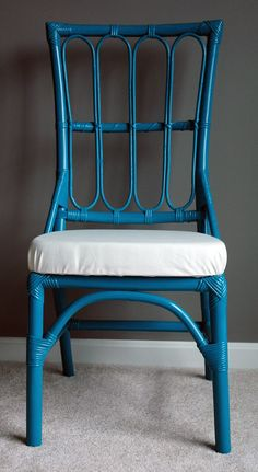 Faux Bamboo Chair  Peacock Teal by janesnirvana on Etsy, $100.00
