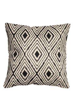 Wzorzysta poszewka na poduszkę - Naturalna biel/Antracytowy - HOME | H&M PL