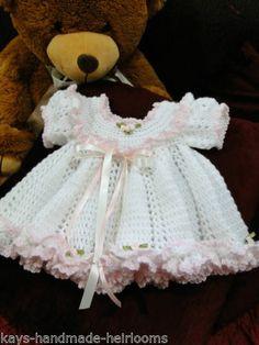 Handmade Heirloom Crochet Newborn Baby Girl Frilly Dress to fit 0-3 months