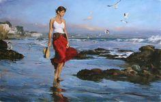 -Garmash original painting Evening at the Beach by Michael & Inessa ...