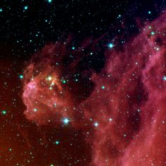 The region featured in this Spitzer image is called Barnard 30. It is located approximately 1,300 light-years away and sits on the right side of Orion's head, just north of the Lambda Orionis.