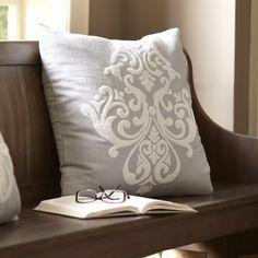 Birch Lane Leah Pillow Cover, Pewter & White | Birch Lane