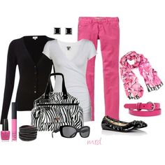 """""""Hot Pink"""" by michelled2711 on Polyvore (substitute with red jeans)"""