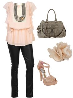 Chiffon Top: Forever 21, Necklace: Stella & Dot, Faux-Leather Pants: Forever 21, Bag: Urban Outfitters, Ring: Forever 21, Heels: Steve Madden