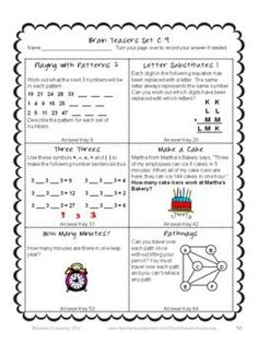 math worksheet : math task cards math problems and math brain teasers cards set c  : 5th Grade Brain Teasers
