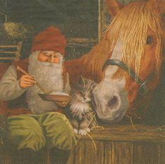 Tovaglioli decoupage Babbo Natale con gatto 3 tovaglioli. Guarda gli sconti