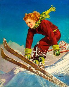Vintage Winter Ski illustration Ellen Barbara Segner