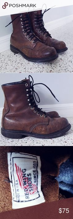 Vintage Red Wing Shoes Brown Leather Boots Size 9 Men's vintage 60s brown leather boots size 9 made by Red Wing Shoe company. Perfectly broken in without damage. Red Wing Shoes Shoes Boots