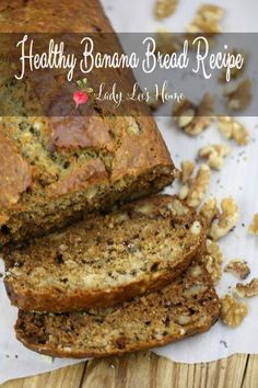 Super simple, healthy banana bread recipe. Just a few minutes to put together. Both kids and adults will love it! #LadyLee'sHome