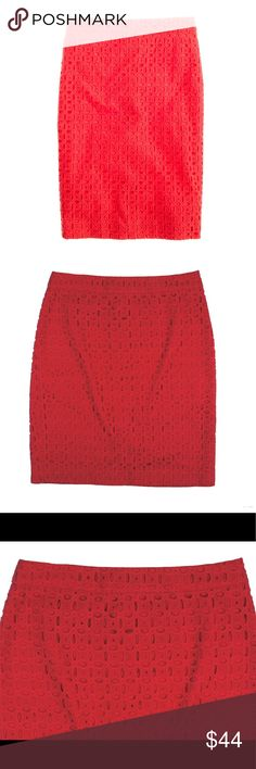 "New JCREW Flame Red No 2 Pencil Skirt Ultra Eyelet NWOT. This new flame red (an orange red) No 2 Pencil Skirt in ultra Eyelet from JCREW features a zip up closure, back center slit and is fully lined. Made of 100% cotton. Measures: waist: 28"", hips: 37"", total length: 20.5"" J. Crew Skirts Pencil"