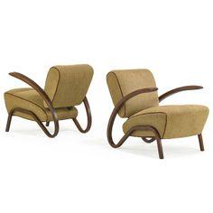 Jindrich Halabala; Beech Lounge Chairs, 1940s.