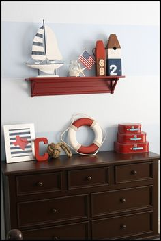 Nursery--or our guest room.  I don't think I'll ever get enough red white & blue, or nautical stuff, so long as we live in Annapolis, anyway.
