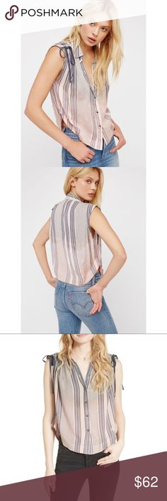 FREE PEOPLE Baby Blues Shirt Easy, breezy stripe buttondown featuring a relaxed dip-dye design. Adjustable scrunched sleeve details. Super soft, lightweight fabrication.  100% Rayon Machine Wash Cold Import Free People Tops Tank Tops