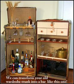 A RANDALL BARBERA design!  A wardrobe trunk converted into a bar for a client