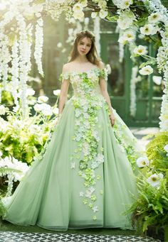Praise Wedding: Romantic princess-worthy gown from Sophie Design featuring refreshing spring colors and floral . Colored Wedding Dresses, Bridal Dresses, Dresses To Wear To A Wedding, Robes Quinceanera, Kids Frocks Design, Fantasy Gowns, Fairytale Dress, Frock Design, Ball Gown Dresses