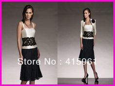 Black And White Short Lace Mother of the Groom Gowns Dresses With Jacket M093 on AliExpress.com. 12% off $111.76