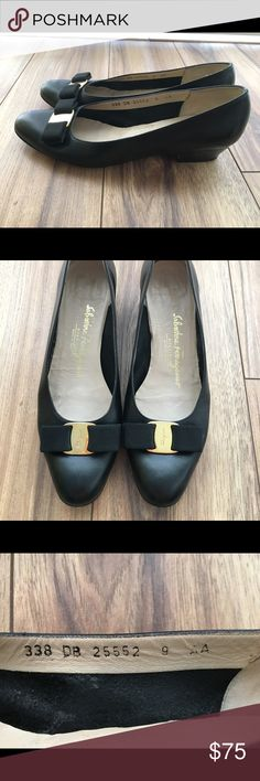 Authentic Ferragamo Vara Bow Shoes These are authentic Salvatore Ferragamo shoes in size 9AA, Black. They are low heels, which are very practical for every day usage with timeless Ferragamo Vara design. Offers are welcome. Please let me know if you have any questions. Salvatore Ferragamo Shoes Flats & Loafers