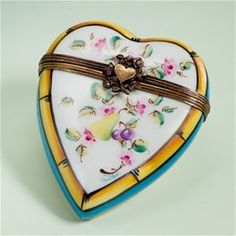 Limoges Heart with Pear and Leaves Box The Cottage Shop