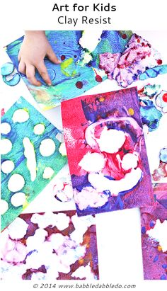 Easy Art Projects for Kids:  Clay Resist Art-combination of sensory play and art all in one simple project.