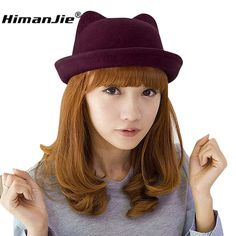 2016 New Arrival Products Women Unique Cute Wool Winter&Autumn Cat Ears Hat Cap Christmas Hot Sale Caps For Girls Hats