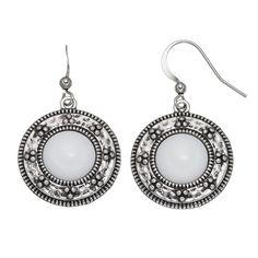 Nickel Free Textured Disc White Cabochon Drop Earrings, Women's