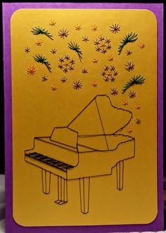 Blumen 19 - Musical-Flowers mit Piano - Copyright des Motives: Stitchingcards -  Doppelkarte mit Umschlag im Format B 6