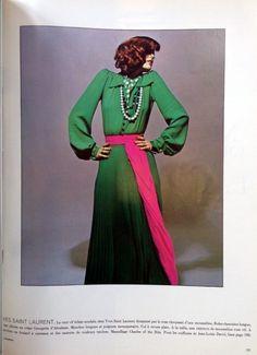1972 - Yves Saint Laurent dress by Guy Bourdin in Vogue
