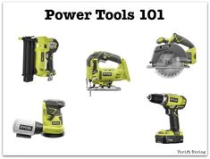 Learn Woodworking Power Tools 101 - What to Buy and How to Use It Thrift Diving - Ever feel intimidated by power tools? This guide will tell you which power tools to buy first for your DIY projects and show you how to use them. Woodworking Courses, Woodworking Power Tools, Essential Woodworking Tools, Antique Woodworking Tools, Unique Woodworking, Woodworking Projects For Kids, Learn Woodworking, Popular Woodworking, Woodworking Plans