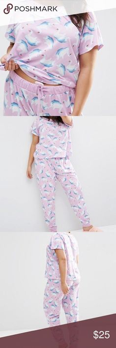 ASOS Swan Tee & Legging Pajama Set Poly/cotton/elastane set features all-over inflatable swan print. Never worn but no tags. Perfect condition! ASOS Curve Intimates & Sleepwear Pajamas