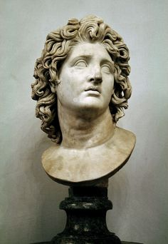 Bust Alexander of Macedonia as the god Helios. - Upon the death of Alexander the Great, Ptolemy was appointed satrap of one third of all the Macedonian Empire, Egypt and Cyrenaica, under the nominal kings Philip Arrihidaeus and the infant Alexander Alexander The Great Death, Alexander The Great Statue, King Alexander, Alexandre Le Grand Film, Greek God Sculptures, Greek Statues, Roman Art, Art Sculpture, Great Paintings