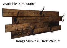 Renewed Decor Farmhouse Large Horizontal Hanging Plank Coat Rack with 5 heavy duty double hooks, 19 stain colors available Recycled Pallets, Wood Pallets, Recycled Wood, Pallet Wood, Barn Wood, Towel Hanger, Towel Hooks, Wall Mounted Coat Rack, Plank Walls