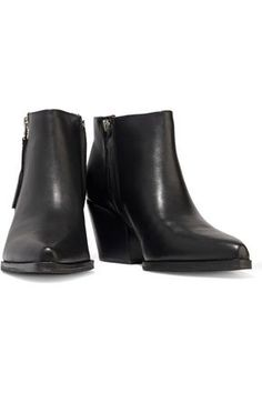 Sam Edelman Walden Leather Ankle Boots In Black Black Ankle Boots, Leather Ankle Boots, Rubber Rain Boots, Zip, Woman, Heels, Shopping, Fashion, Heel