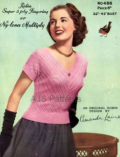 PDF Knitting Pattern for a Pretty 1950s Retro by TheKnittingSheep