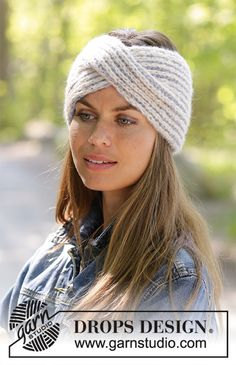 Lissie / DROPS - Free knitting patterns by DROPS Design Knitted headband in DROPS Air. The work is knitted in full patent with 2 colors and front braid. Headband Pattern, Knitted Headband, Knitted Hats, Thick Headbands, Headbands For Women, How To Start Knitting, Knitting For Beginners, Drops Design, Knitting Patterns Free