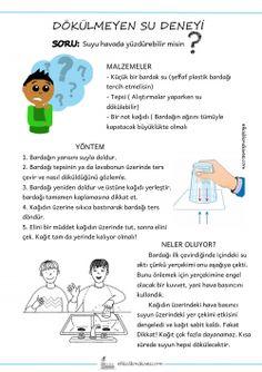 DÖKÜLMEYEN SU DENEYİ Preschool Games, Kindergarten Activities, Preschool Crafts, Activities For Kids, Pre School, Sunday School, Learn Turkish, Science For Kids, My Children