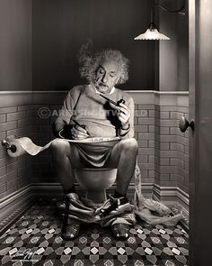 The daily duty (Albert Einstein), 2017 - by Cristina Guggeri Italian Toilet Art, Cinema Tv, Einstein Quotes, Funny Art, Vintage Photography, White Photography, Historical Photos, Vintage Photos, Funny Pictures