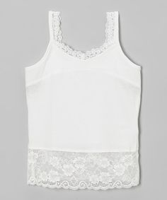 Look at this #zulilyfind! White Lace-Trim Camisole - Infant & Toddler…