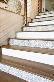 Peel And Stick Wallpaper On Steps Google Search Tiled Staircase Tile Stairs Wallpaper Staircase