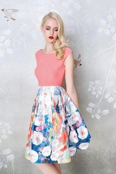 SADONI evening dress ZAFIRA with soft jersey top and print skirt