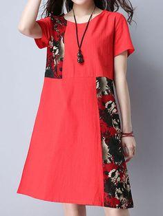 Vintage Women Floral Printed Patchwork Long Sleeve Pocket Dresses Shopping Online - NewChic Mobile.