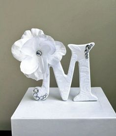 Letter Cake Topper (White textured fabric, Flower, Jewels). Wedding Cake Topper. Wedding Cake Decor. Decorated Letters.