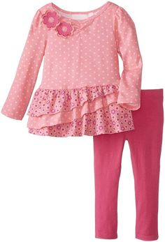 Kids Headquarters Little Girls' Polka Dot Tiered Legging Set, Pink, Little Girl Dresses, Girls Dresses, Toddler Fashion, Kids Fashion, Newborn Girl Headbands, Baby Girl Onsies, Frock Patterns, Kids Headquarters, Baby Dress Design